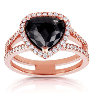 14k Rose Gold Pear Shape Black and White Diamond Halo Ring 3 3/4 CTW