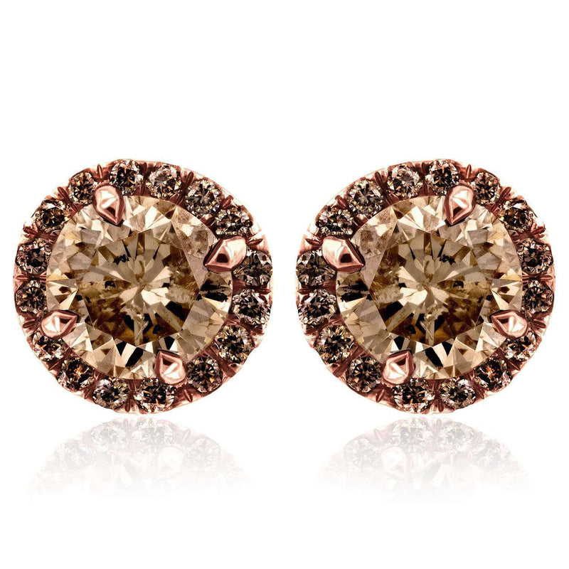 Kobelli Champagne Diamond Halo Stud Earrings 2 4/5 CTW in 18K Rose Gold 71272X-3