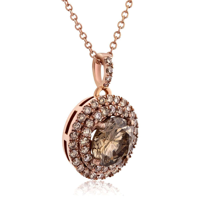 Kobelli 18k Rose Gold Champagne Double Halo Diamond Pendant 1 7/8 CTW with 14k Rose Gold Chain 71273X