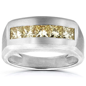 Fancy Yellow Diamond Mens Wedding Band 1 2/5 CTW in 14k White Gold