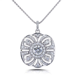 "Diamond Antique Fancy Floral Pendant 1 3/4 CTW in 14k White Gold and 16"" Wheat Chain in 18k White Gold (Certified)"