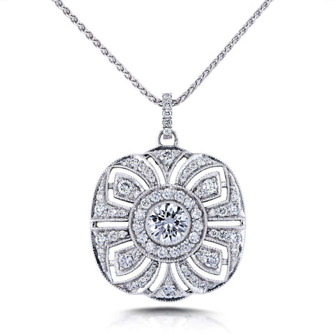 vintage diamond pendant with floral design