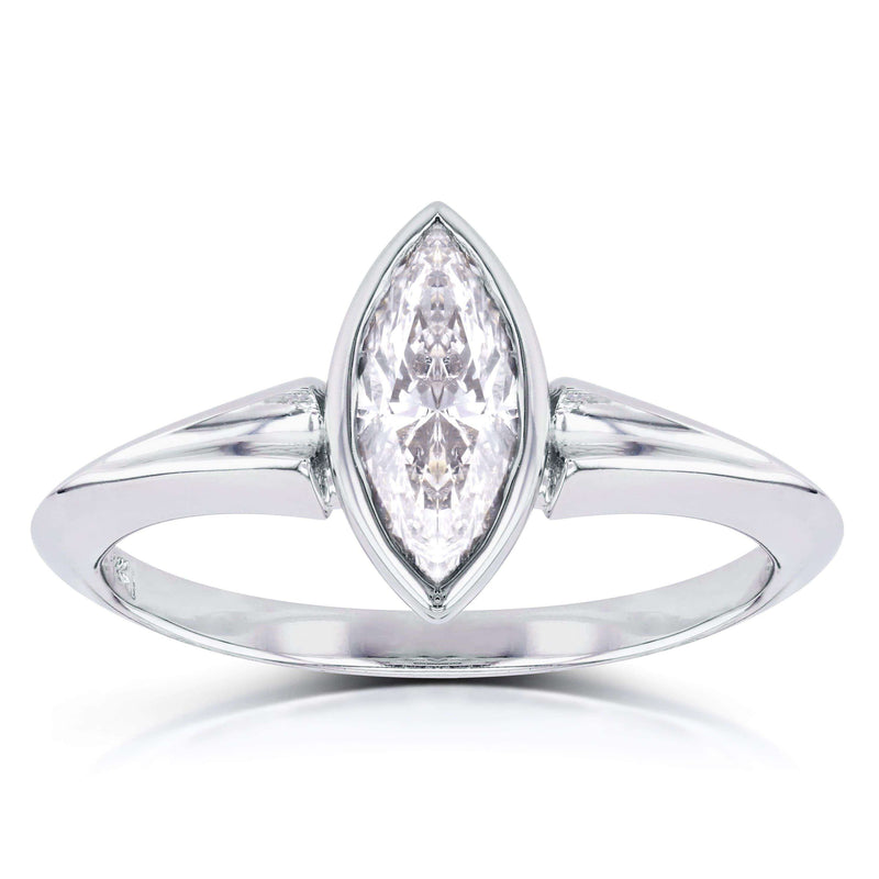 Kobelli Solitaire Marquise Diamond Bezel Ring in 1 1/10 CTW 14k White Gold