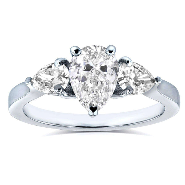 Kobelli Diamond Pear Three-Stone Engagement Ring 1 3/5 CTW in Platinum (Certified) 71289X/7.0P