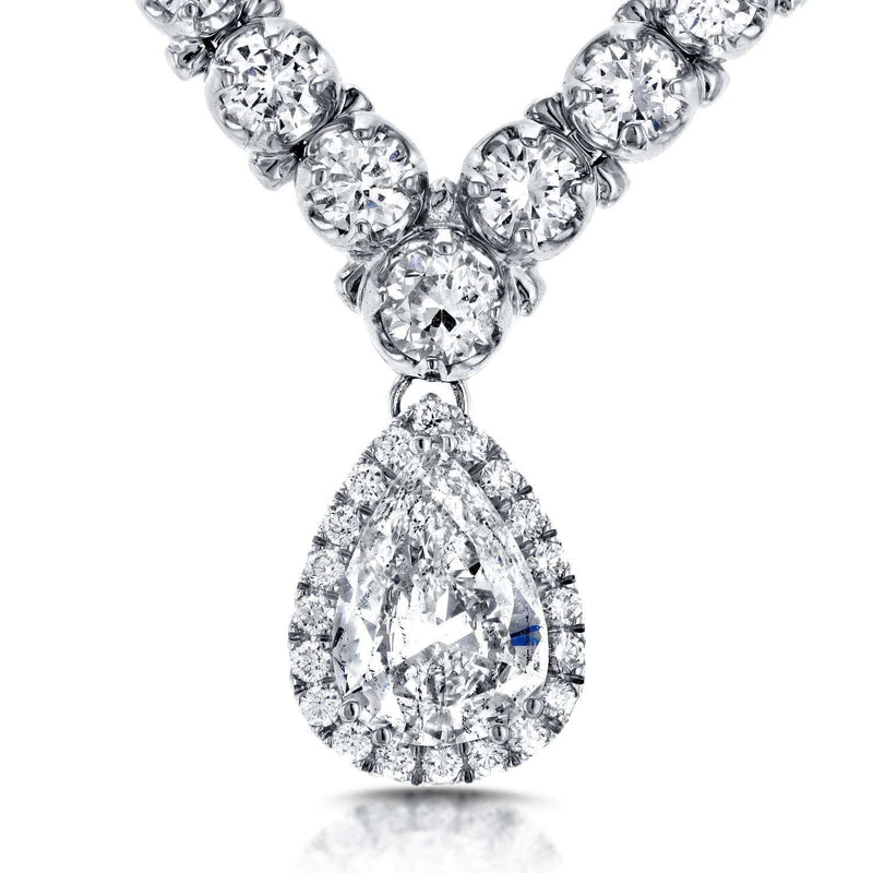 "Kobelli Pear Shape Diamond Eternity Tennis Necklace 10 2/5 CTW in 18k White Gold (16"" Chain) 71293X"