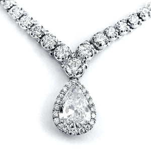 "Pear Shape Diamond Eternity Tennis Necklace 10 2/5 CTW in 18k White Gold (16"" Chain)"