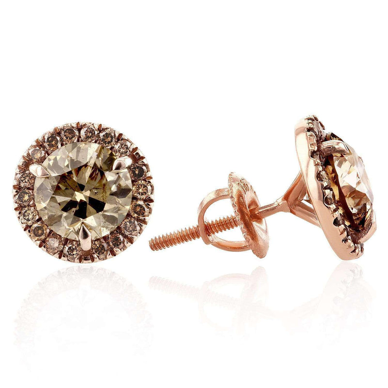 Kobelli Champagne Diamond Halo Stud Earrings 3 2/5 CTW in 18K Rose Gold 71297X