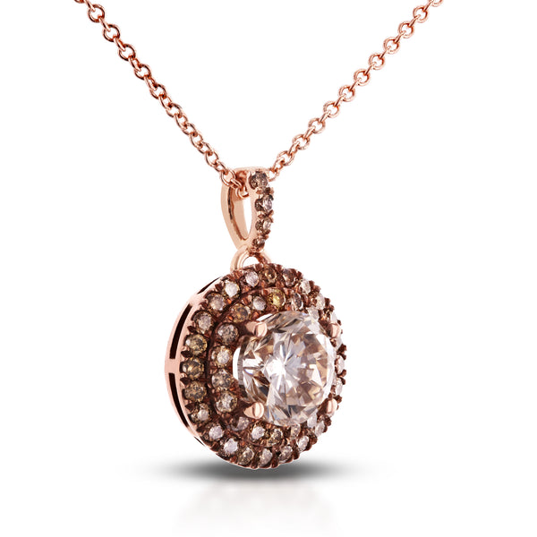 18k Rose Gold Brown and Champagne Diamond Pendant 1 5/8 CTW with 14k Rose Gold Chain
