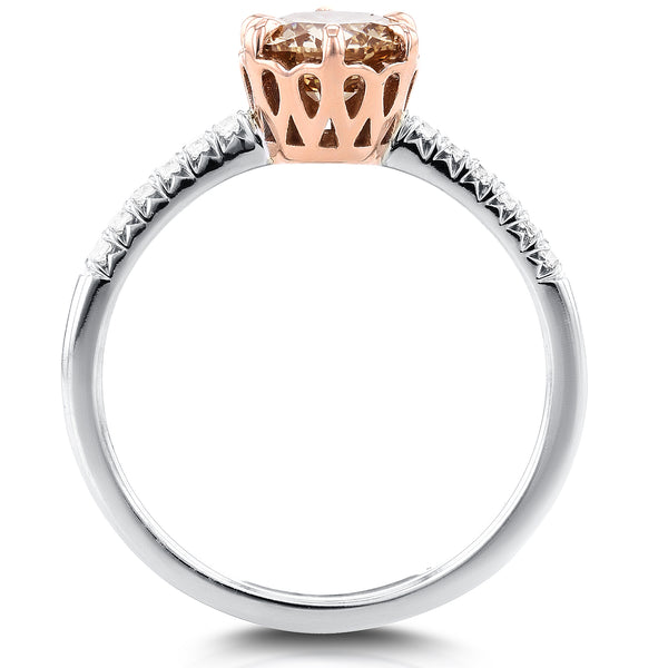 Champagne Diamond Ring 1 1/8 CTW in 18k Rose and White Gold