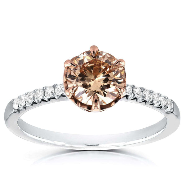 Kobelli Champagne Diamond Ring 1 1/8 CTW in 18k Rose and White Gold
