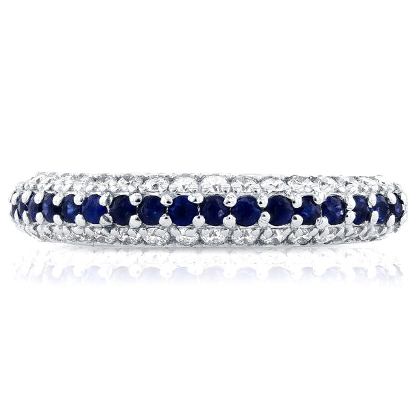 Diamond and Sapphire Ring 5/8 CTW in 14k White Gold