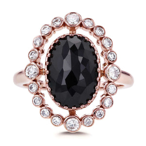Kobelli Oval Black and White Diamond Bezel Halo Ring 3 1/3 CTW In 14k Rose Gold