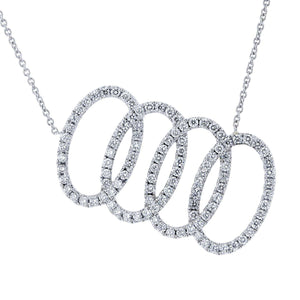 Overlapping Ovals Slanted 5/8 CTW Diamond Necklace in Platinum