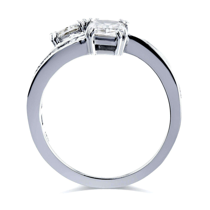 Kobelli Kobelli Two Collection Certified 1-3/4 Carats TDW Cushion Diamond 2 Stone Ring in 18k White Gold