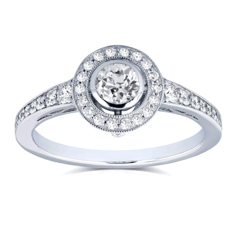 round bezel diamond engagement ring
