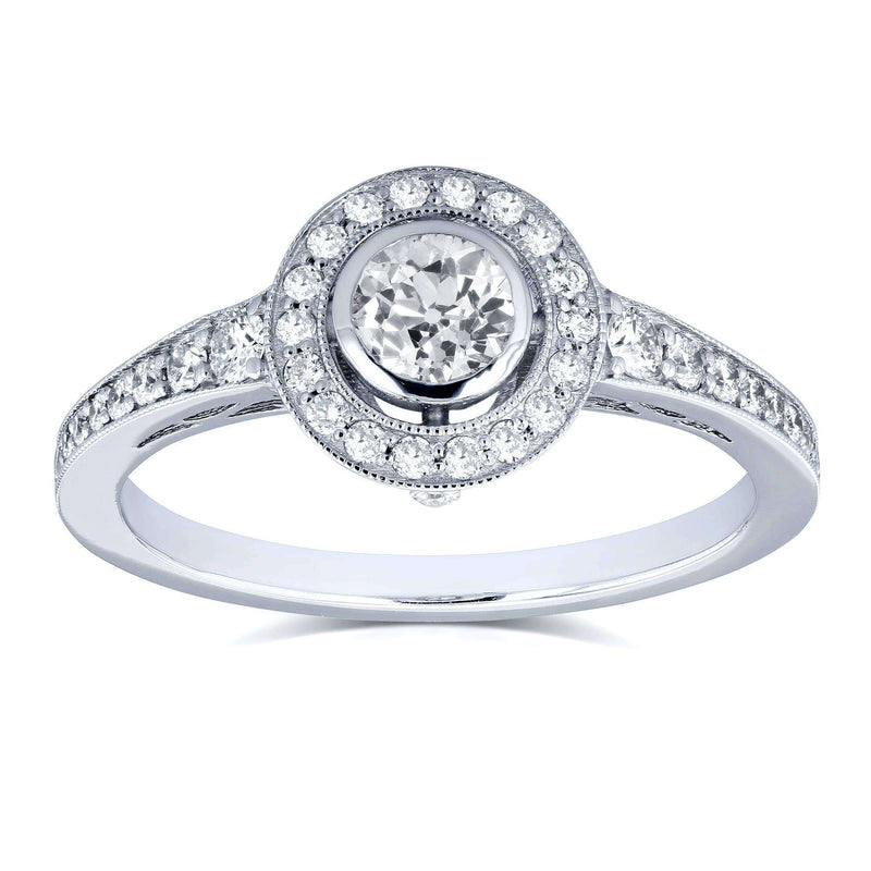 Kobelli Round Bezel Old Mine Cut Diamond Halo Ring 4/5 Carat TDW in 18K White Gold