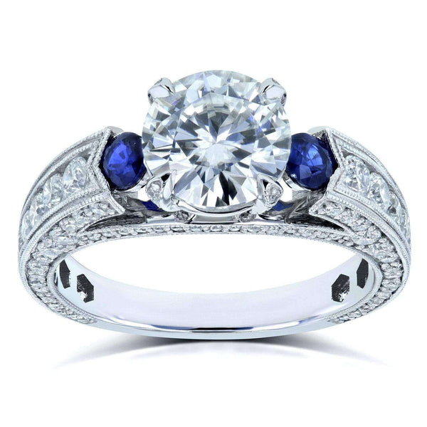 Kobelli Mixed 3-Stone Blue and White Engagement Ring 3 3/4 CTW 14k White Gold - Size 8 71331X/8W