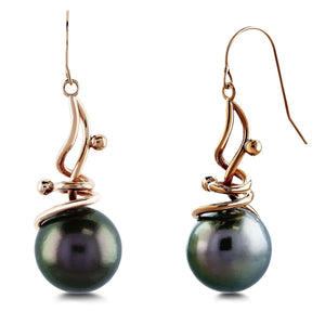 Grey Tahitian Pearl Wispy Earrings in 14k Rose Gold