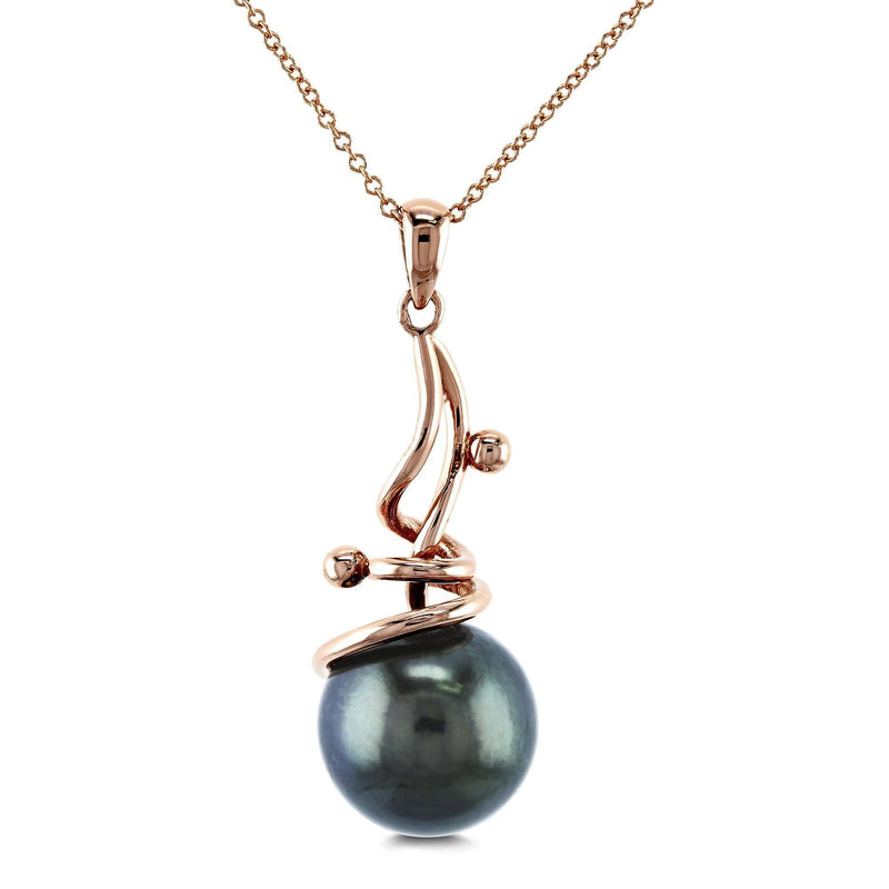 Grey Tahitian Pearl Wispy Pendant and Chain In 14k Rose Gold