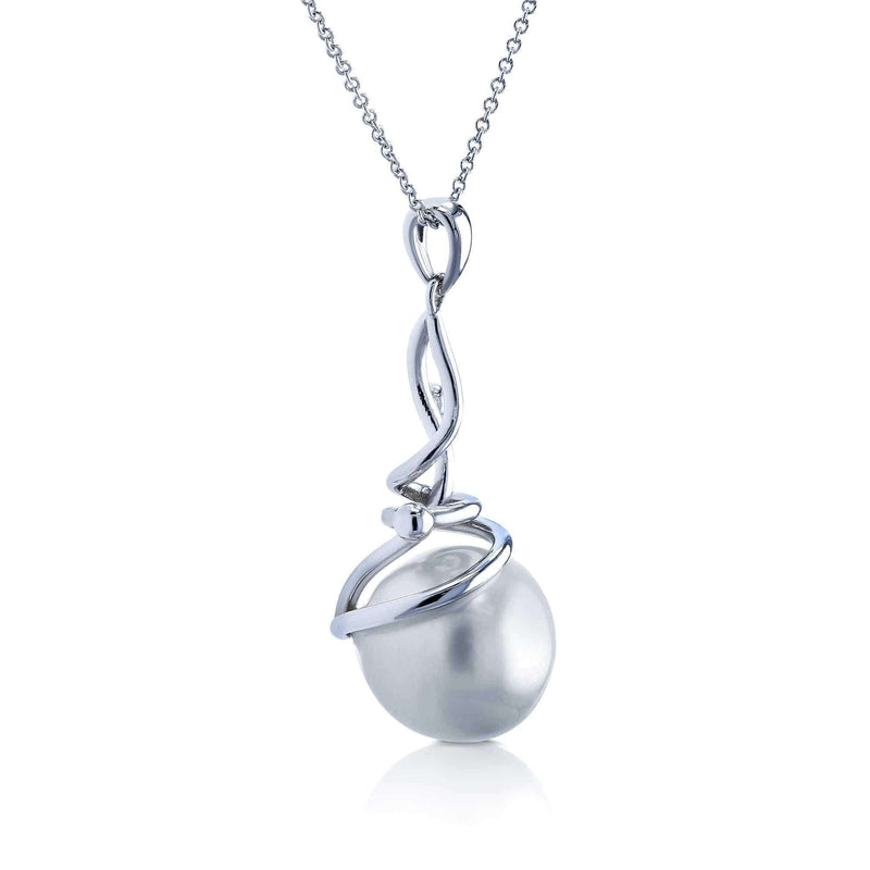 Kobelli White South Sea Pearl Wispy Pendant and Chain in 14k White Gold 71336X