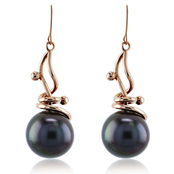 Kobelli Grey Peacock Tahitian Pearl Wispy Earrings in 14k Rose Gold 71337X