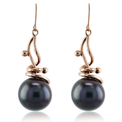 grey pearl drop earrings in rose gold