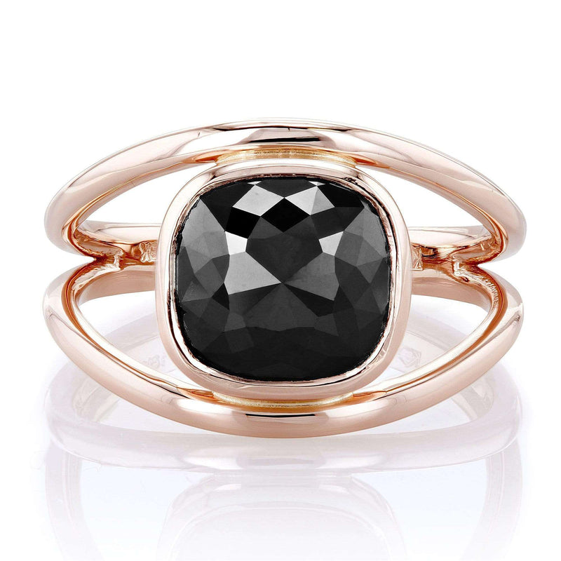Kobelli 3 Carat Solitaire Rose-cut Cushion Black Diamond Split Shank Ring in 18k Rose Gold