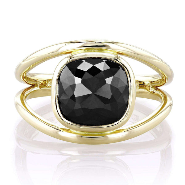 Kobelli 2 7/8 Carat Solitaire Rose-cut Cushion Black Diamond Split Shank Ring in 14k Yellow Gold
