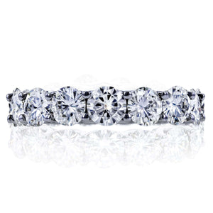 Round Brilliant-cut Prong-set Eternity Moissanite Wedding Band 5 Carats TGW in 14k White Gold