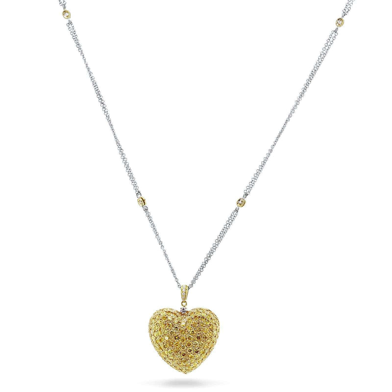 Kobelli Fancy Yellow Diamond Pave-set Dome Heart Pendant Necklace 3 4/5 CTW 18k Yellow Gold, 18in Chain (Certified) 71353X