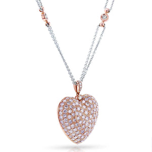 Fancy Light Pink and White Diamond Pave-set Dome Heart Pendant Necklace 4 1/5 CTW 18k Rose Gold, 18in Chain (Certified)