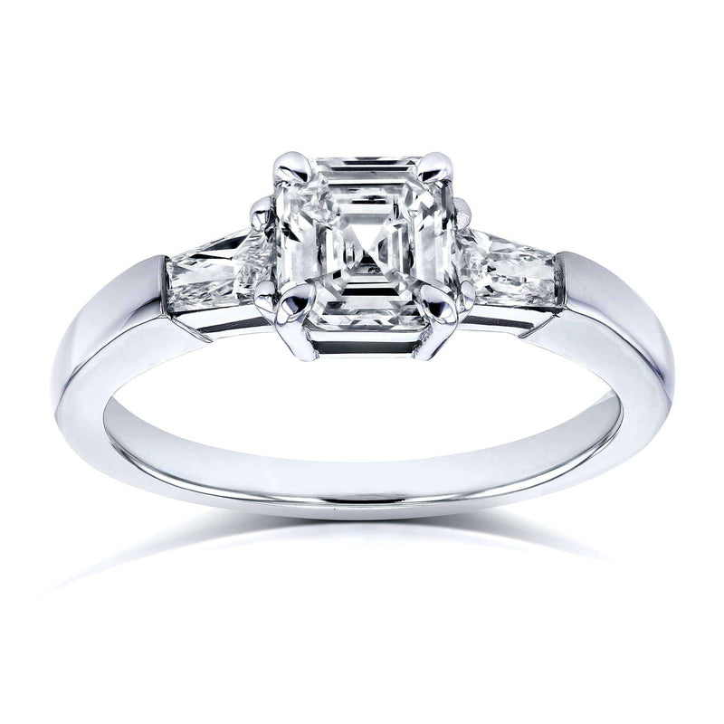 Kobelli Certified 1-1/3 Carat TDW Asscher and Tapillion 3 Stone Diamond Ring in Platinum