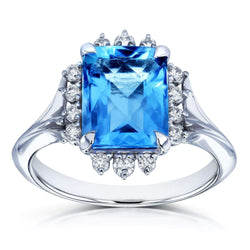 Kobelli Emerald Rose-cut Blue Topaz and White Diamond Ring 1/5ct TDW in 14k White Gold