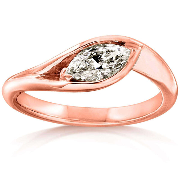 Kobelli 14k Rose Gold 1/2 Carat Marquise Diamond Engagement Ring