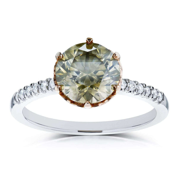 Kobelli Mixed Fancy Champagne Brown and White Diamond Two Tone Ring 2 1/3ct CTW 18k Gold (Certified)