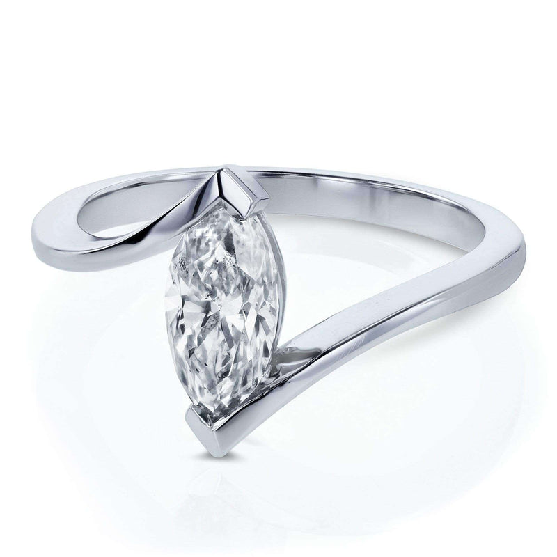 Kobelli Certified 14k White Gold 1ct Marquise Diamond Chevron Solitaire Engagement Ring