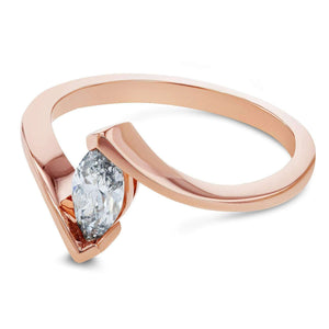 Solitaire Marquise Diamond Chevron-prong Ring 14k Rose Gold (1/2ct)