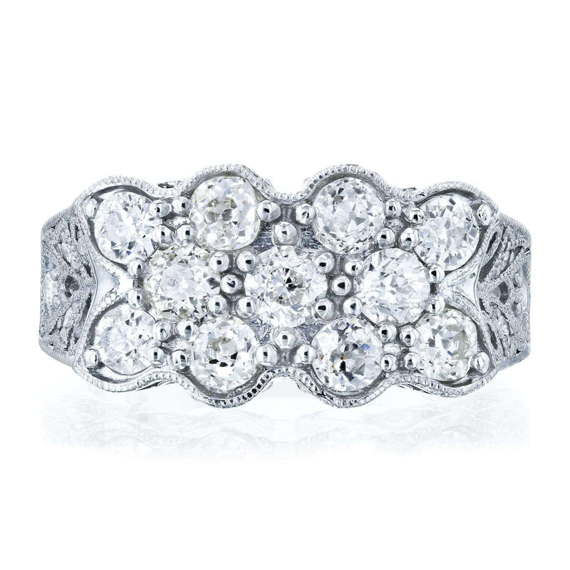 Kobelli Old Mine Cut Diamond Vintage Filigree Indented Concave Wide Ring 1 7/8 CTW in Platinum (Certified)
