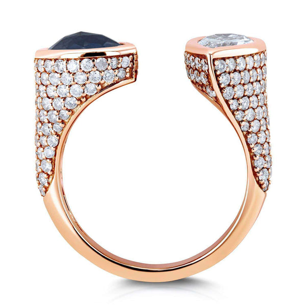Kobelli Two Collection Certified Black and White Pear Diamond, Bezel and Pave Open Wrap-around Ring 3 7/8 CTW 18k Rose Gold - Size 7 71384X/7R