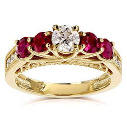 Kobelli Diamond and Ruby Five Stone V-Prong Engagement Ring 1 4/5 CTW 14k Yellow Gold