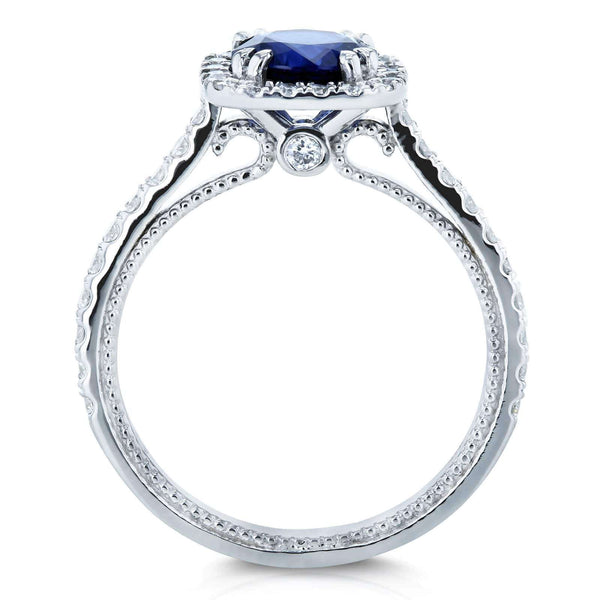 Kobelli Sapphire and Diamond Halo Engagement Ring 1 3/4 CTW 18k White Gold, 6 71399X/6W