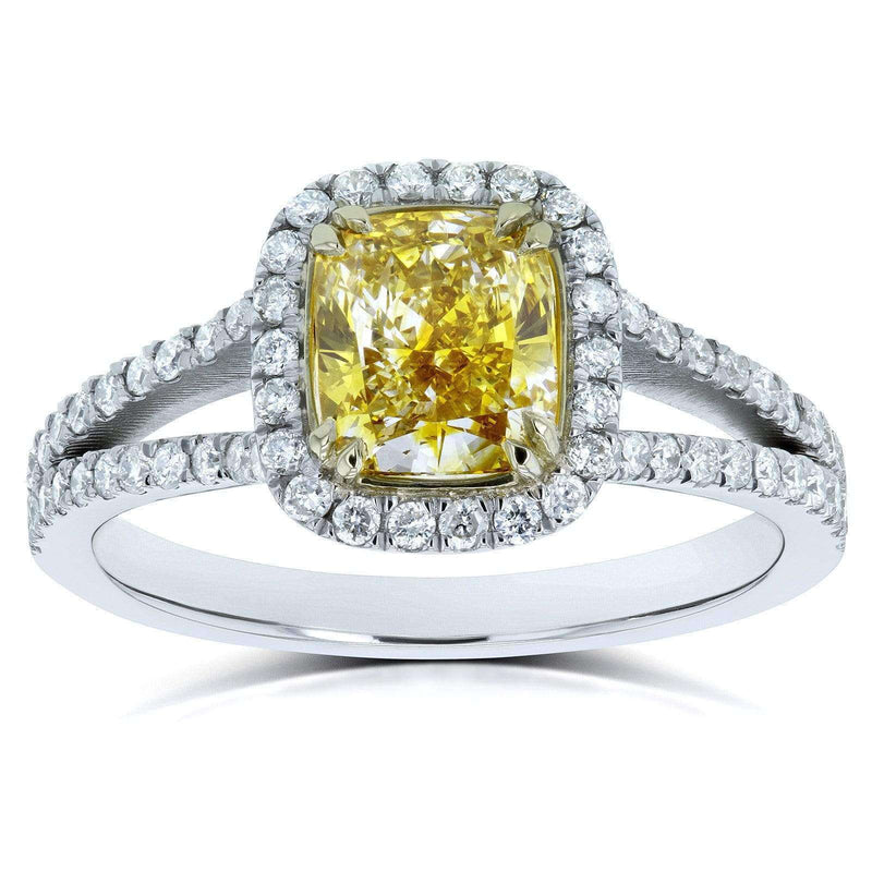 Kobelli GIA Certified Fancy Vivid Yellow Cushion Diamond Halo Split Shank Ring 1 3/5 CTW 18k Two Tone Gold