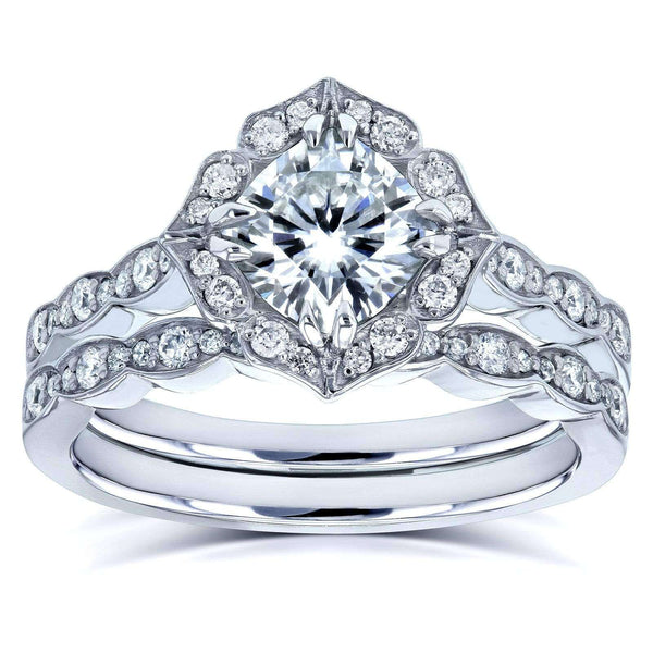 Kobelli Cushion Moissanite (DEF) and Diamond Floral Bridal Rings Set 1 2/5 CTW 14k White Gold - One of a Kind