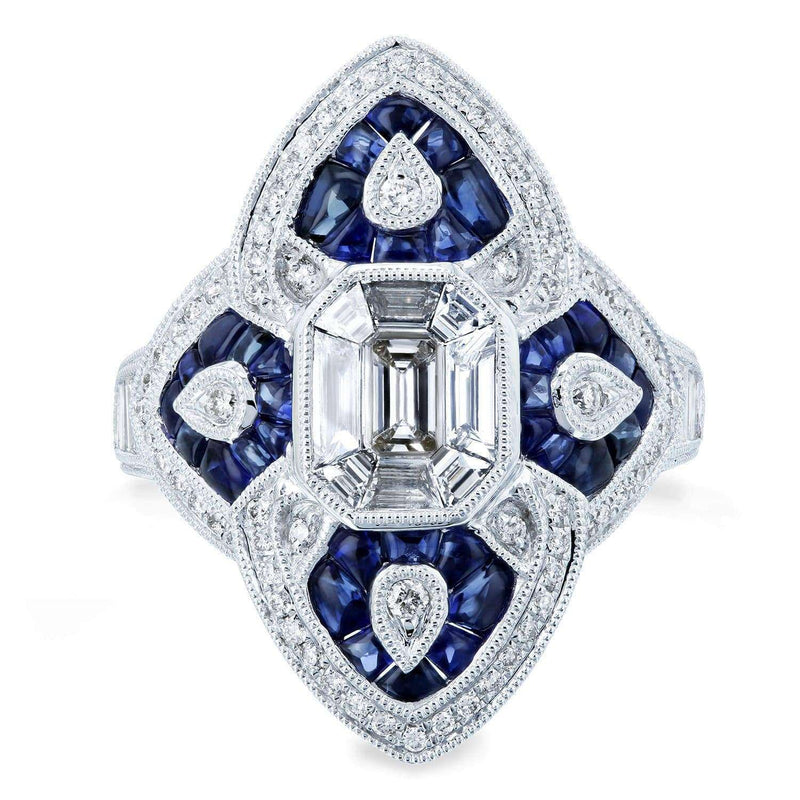 Kobelli Diamond and Sapphire Cabochon Ornate Long Pointed Ring 2 1/2 CTW 14k White Gold  - Size 7 71432X/7W