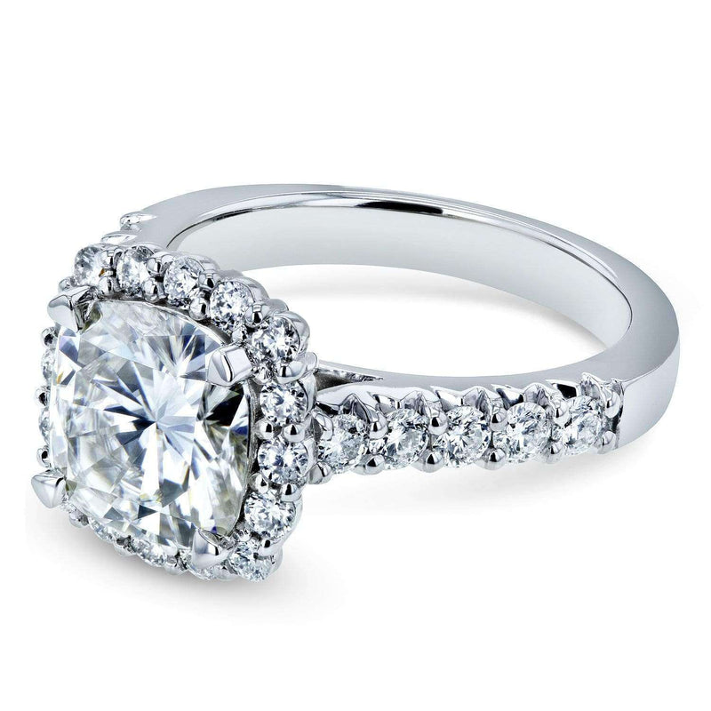 Kobelli Cushion Moissanite and Diamond Halo One-of-a-kind Engagement Ring, 3 3/5 CTW, 14k White Gold