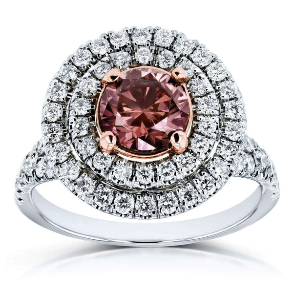Kobelli IGI Certified Lab Created Fancy Deep Pink Diamond Double Halo Ring 2 CTW 18k Two Tone Gold