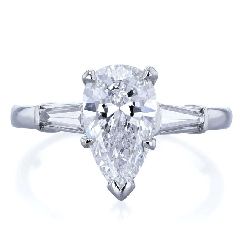 Kobelli Van Cleef Pear Brilliant Diamond Three Stone Engagement Ring 2 1/10 CTW in Platinum (GIA Certified), Size 6 71454X/6P
