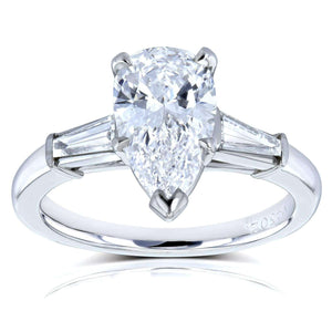Van Cleef Pear Brilliant Diamond Three Stone Engagement Ring 2 1/10 CTW in Platinum (GIA Certified), Size 6