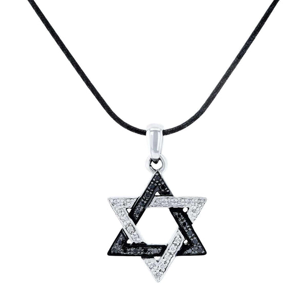 Kobelli Black and White Diamond Star of David Necklace Sterling Silver Pendant and Black Silver Chain 71459X