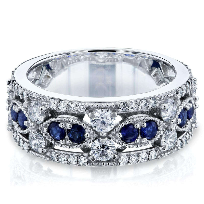 Kobelli Diamond and Sapphire Fashion Band 1 9/10 CTW in 14k White Gold